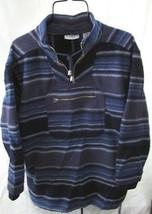 DARK NAVY Stripe TOP Size M  Heavy Fleece Shirt - $17.98