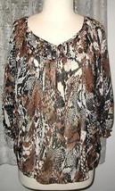 BROWN BLACK & ECRU Snake Print Polyester BLOUSE Size 18W - $8.99+