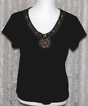 GOLD EMBROIDERY on BLACK Cotton Tee Top Size Large By Design - $9.99
