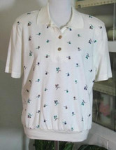 EMBROIDERED FLOWERS on ECRU Knit Top Cotton Blend Size M Teddi NWT - $19.98