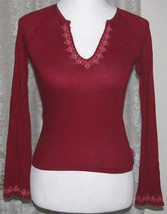 DARK RED Knit Tee Top Cotton Knit Size S Abercrombie & Fitch - $13.98