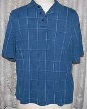 LARGE PLAID on BLUE Cotton Blend Soft Knit GOLF SHIRT Size XL George - $12.98