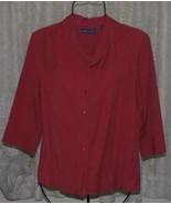LADIES DARK CORAL PINK Poly Rayon BLOUSE Misses Size M Karen Scott - $15.98