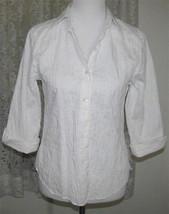 Ladies WHITE Tucked BLOUSE Cotton Nylon Spandex Misses Size 6 Westbound - $9.99