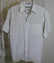 Men's CHARCOAL on WHITE Poly Cotton SHIRT Size 16 1/2 Van Heusen - $9.99
