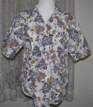 Navy Rust & Tan On White Cotton Shirt Size Medium Cherokee - $12.98