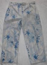 Ladies Blue On White Brushed Chino Cropped Pants Size 14 Bill Blass - $14.98