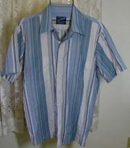 Men's Blue Aqua Cream Poly Cotton Shirt Size 16/16 1/2 David Barry - $9.99