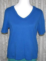 ROYAL BLUE & WHITE Cotton Tee Top Size L Birch Hill - $9.99