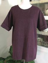 PURPLE & BLACK narrow Striped Knit Top Cotton Blend Size M White Stag - $9.98