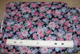 "PINK TEAL GREEN LILAC FLORAL on NAVY cotton Fabric 46"" wide units $8 per yd - $2.00"
