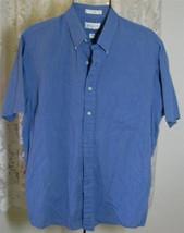 Men's MEDIUM BLUE Cotton Poly SHIRT Size 16 1/2 Van Heusen - $9.99