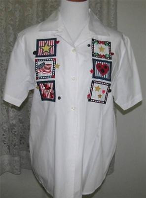 NAVY RED & GOLD STAR Applique's on WHITE Cotton SHIRT Size Medium Karen Scott