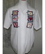NAVY RED & GOLD STAR Applique's on WHITE Cotton SHIRT Size Medium Karen ... - $12.98