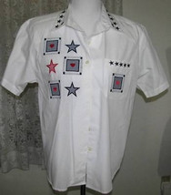 NAVY & RED STAR Applique's on WHITE Cotton SHIRT Size Medium Karen Scott - $12.98