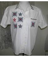 NAVY & RED STAR Applique's on WHITE Cotton SHIRT Size Medium Karen Scott - $12.98