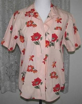 RED FLOWERS on PEACH Cotton Shirt Petite Size PM Karen Scott - $9.99