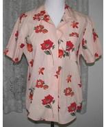 RED FLOWERS on PEACH Cotton Shirt Petite Size PM Karen Scott - $9.99