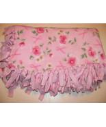ROSE PINK & WHITE FLOWERS on PINK Fleece Lined Blanket - $4.99