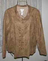 Taupe Brushed Poly Suede Jacket Plus Sz 16W Liz Claiborne Woman - $19.98