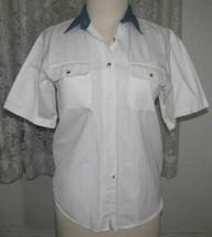 WHITE with BLUE COLLAR Cotton DENIM Shirt Size Medium American Rave - $9.99