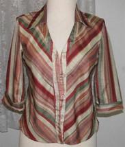 RUST, TAN, GREY Striped Polyester Blouse Misses Size L Selene Sport - $14.99