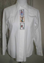 WHITE with EMBROIDERED TABS Cotton Poly SHIRT Size 10 Sandra Ingrish - $18.98