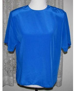 SOLID ROYAL BLUE Polyester Blouse Size 10 Alyssa Carr - $17.98