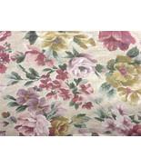 "YELLOW ROSE LILAC on ECRU Floral Decor Fabric 46"" wide units $1 per yard - $1.00"