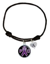 Custom Pancreatic Cancer Awareness Black Leather Unisex Bracelet Jewelry Charm - $14.99