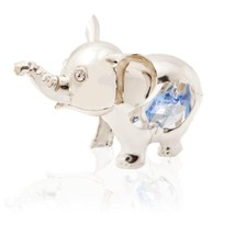 Silver Plated Crystal Studded Cartoon Elephant ... - $20.78