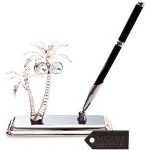 Silver Plated Palm Trees Pen Set Made with Genu... - $44.54