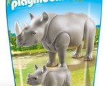 New! PLAYMOBIL 6638 Rhino with Baby Building Kit Ages 4-10