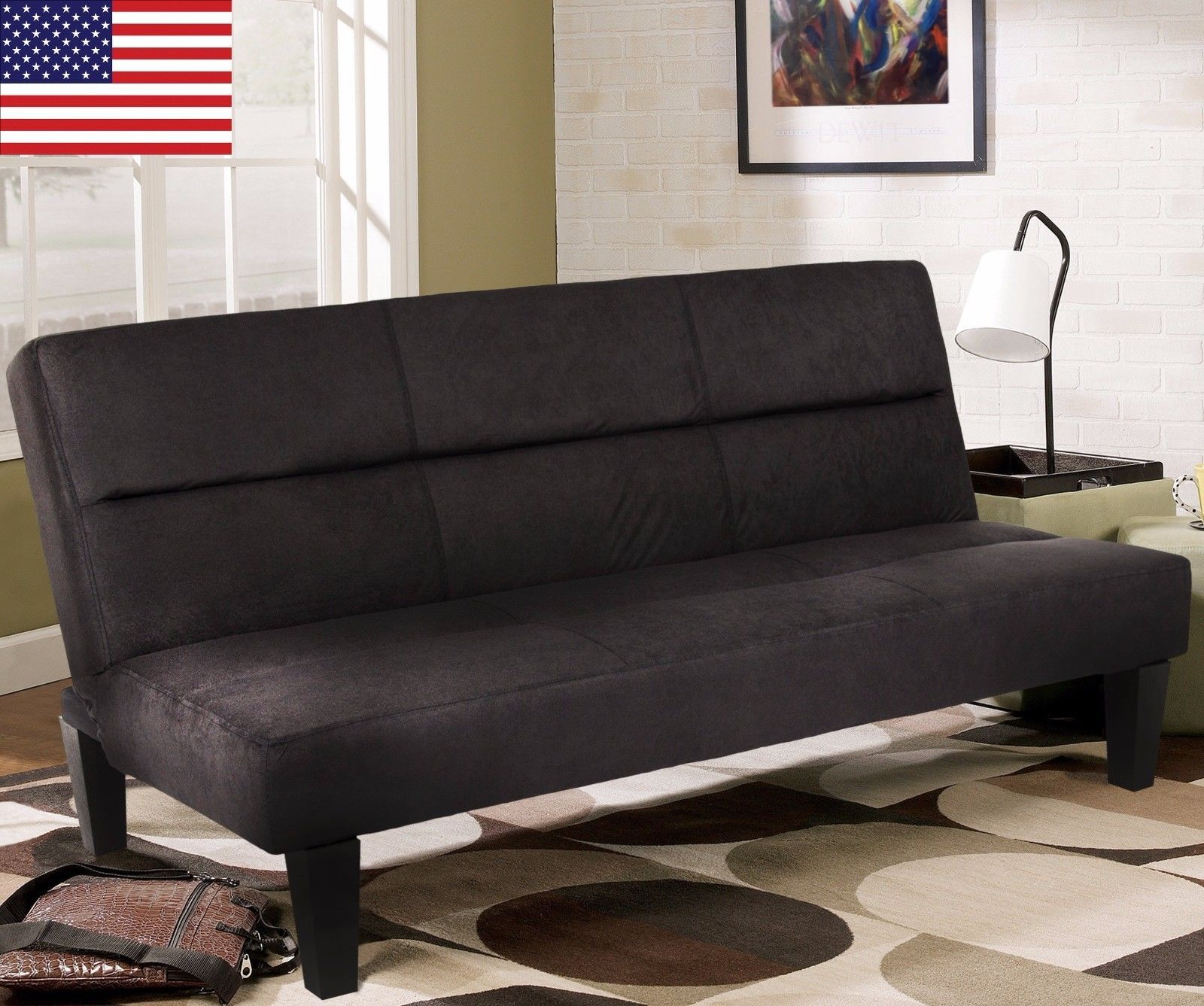 Sofa couch bed convertible futon black folding lounger for Sofa bed heaven