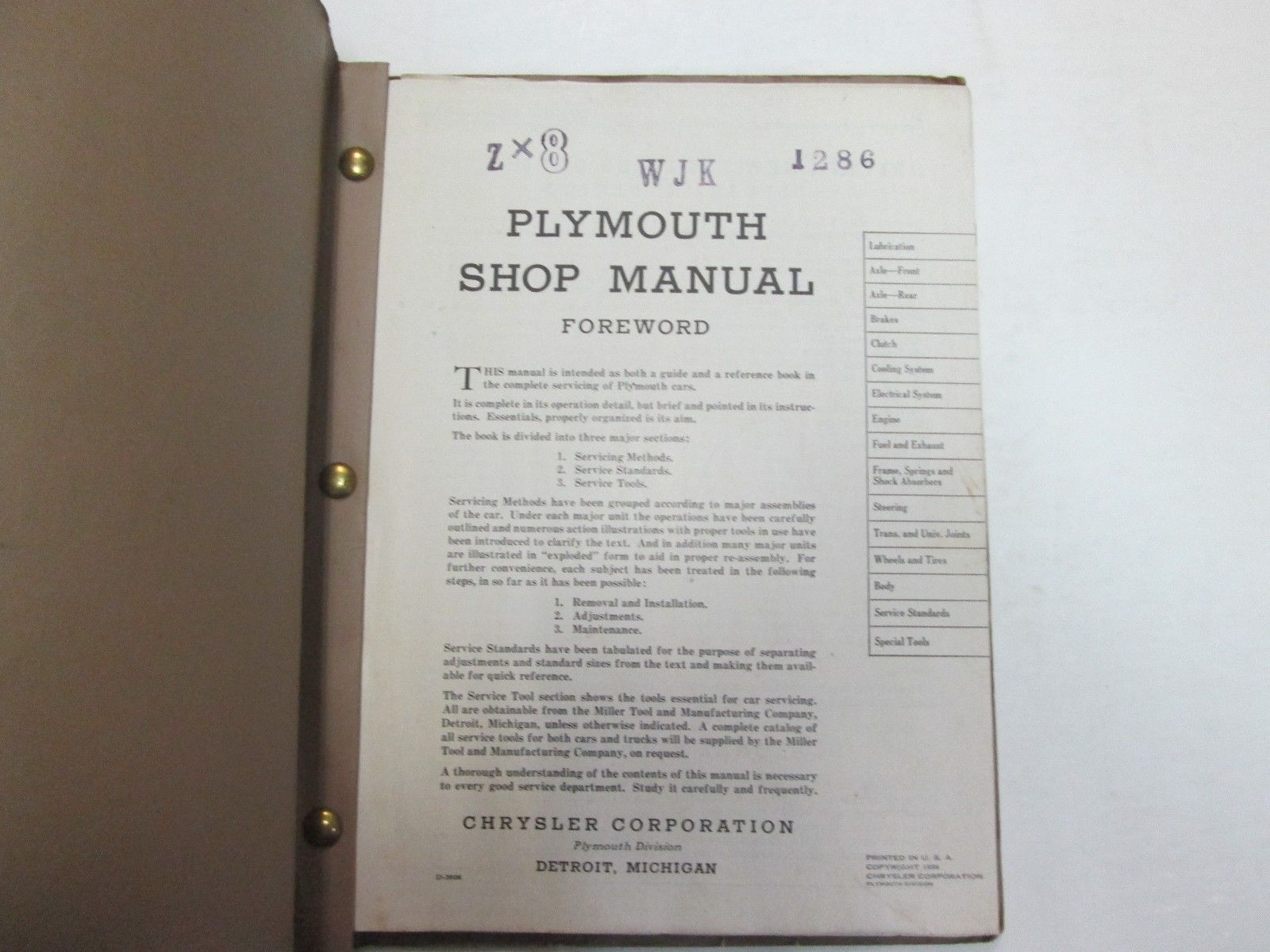 1936 Plymouth Codes P3 P4 Service Shop Manual DAMAGED STAINED FACTORY OEM DEAL