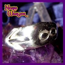 Illuminati Elhaz Rune Ring w Pyramid & Infinity Symbols! Success! Algiz haunted - $299.99