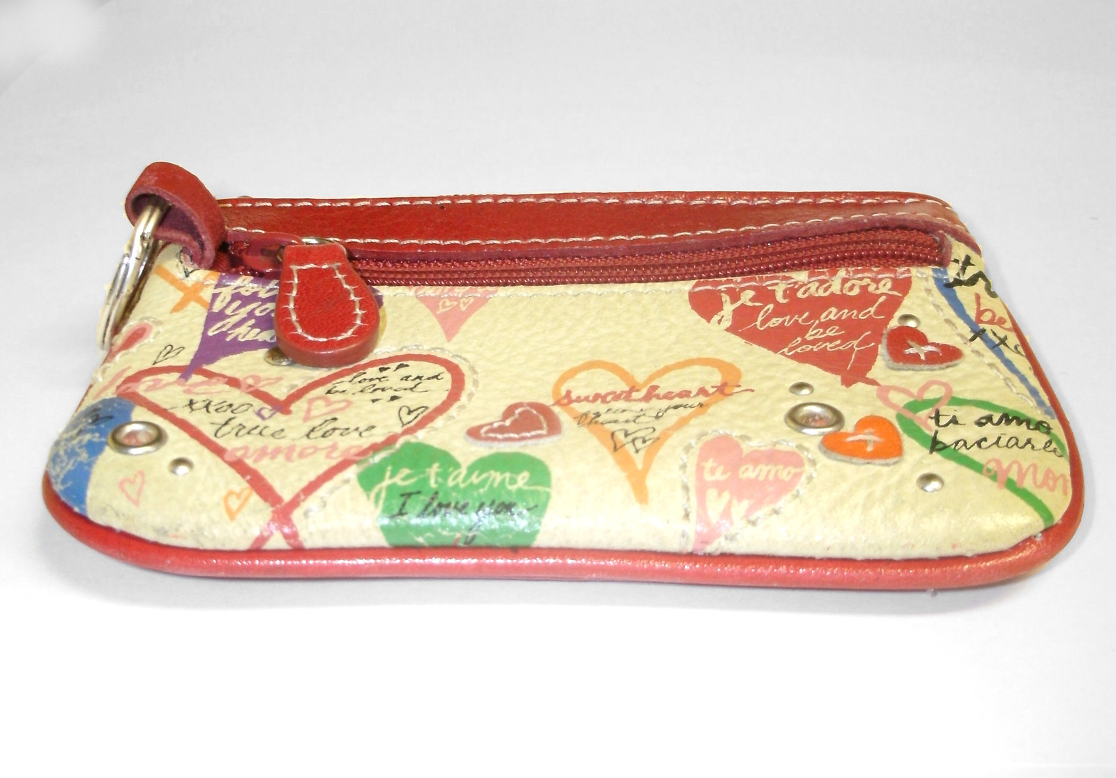 Fossil Mini ID Wallet Coin Purse Red Leather Heart Love Keychain image 3