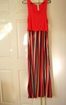 Bobbie Brooks Maxi Dress Orange Top Colored Stripes In Skirt Size M.Nwt - $9.89