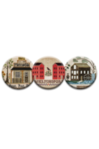 Vintage Town Magnet Collection (3 pcs) interchangeable jewlery Quilt Dots - $10.00