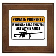 Private Property Trespassing Sign NRA Framed Tile Art (Home Decor) - Wal... - $12.24