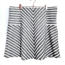 Ann Taylor LOFT Stripe Skate Skirt L Large Side Zip Knit A Line - $11.99