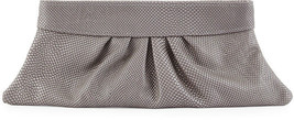 New $225 Lauren Merkin Louise Grey Snake Embossed Clutch Bag Purse - $77.27