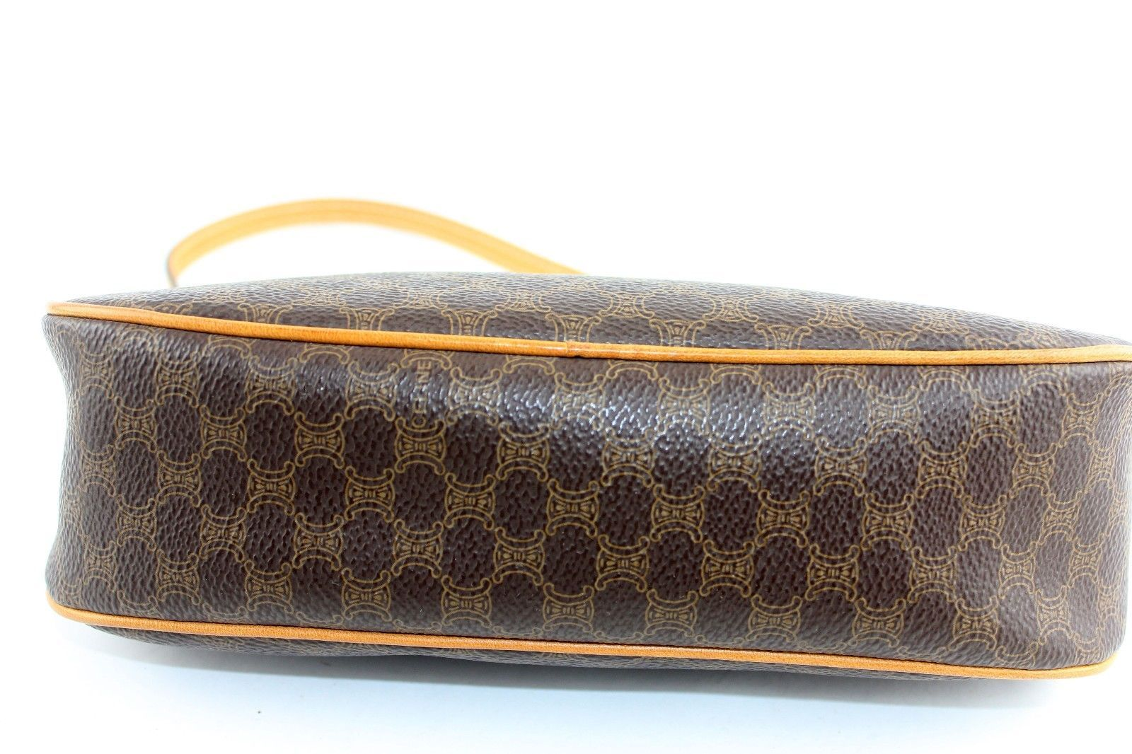 20efe6aa4e Authentic CELINE Cosmetic pouch Brown monogram canvas Leather CE00 23