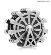 STAINLESS Steel European Charm Bead Ferris Wheel Amusement Park Disney V... - $4.99