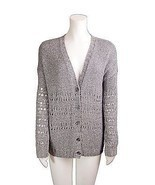VINCE Sweater Cardigan Small Grey Hand Knit V Neck Long Sleeve Solid  - £57.22 GBP