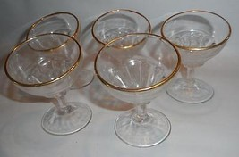5 Vintage FEDERAL GLASS Bent Stem Goblet 22k Gold Rim Clear Glass - $27.09