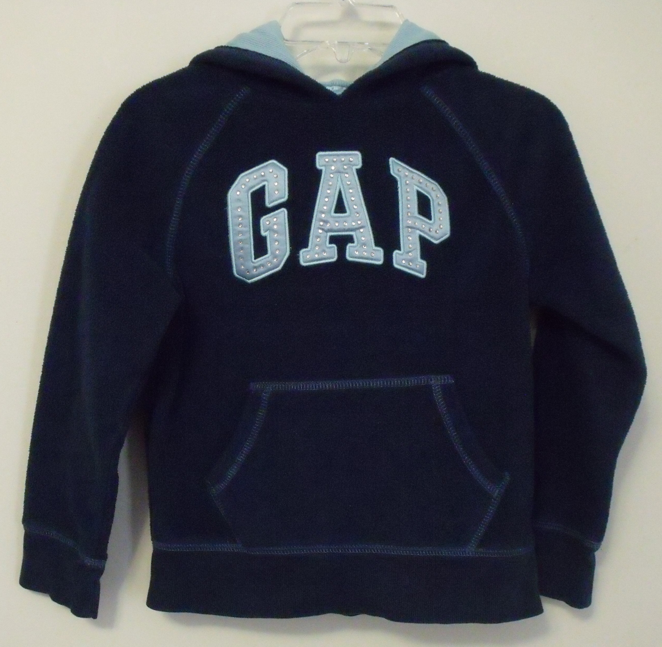 Girls Gap Girl Navy Blue Fleece Hooded Long Sleeve Sweatshirt Size Small 6 to 7