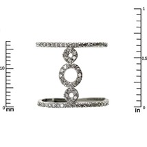 Pave Clear AAA Cubic Zirconia Open Triple Circle Knuckle Ring-Rhodium Plated - $29.99