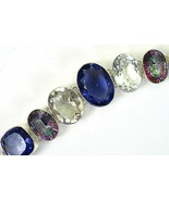 Clear + Pink Gold Mystic Topaz with Blue Iolite and Sterling Silver Brac... - $191.04