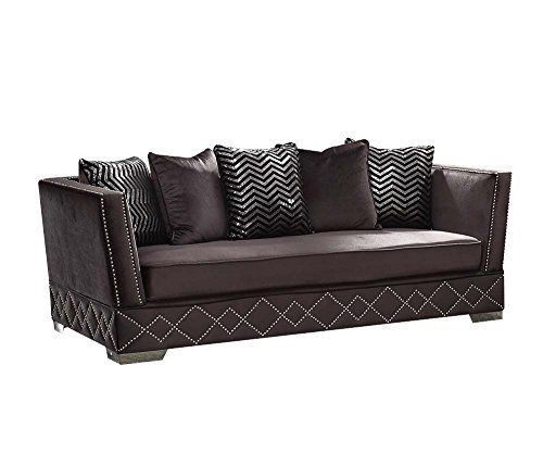 Charcoal Velvet Sofa: ACME Tamara Charcoal Velvet Sofa With 5 Pillows